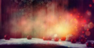 De achtergrond van Kerstmis met snuisterijen en sterren royalty-vrije stock fotografie