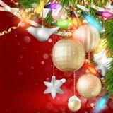 De achtergrond van Kerstmis met snuisterijen Eps 10 Stock Afbeelding