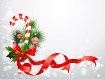 De achtergrond van Kerstmis met suikergoedriet Royalty-vrije Stock Afbeeldingen