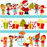 De achtergrond van Kerstmis met vastgestelde jonge geitjes Royalty-vrije Stock Afbeeldingen