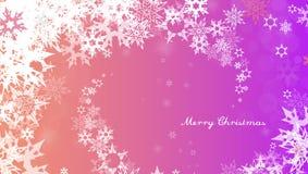 De achtergrond van Kerstmis met witte sneeuwvlokken Stock Foto