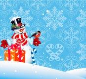 De achtergrond van Kerstmis. Sneeuwman Royalty-vrije Stock Afbeelding
