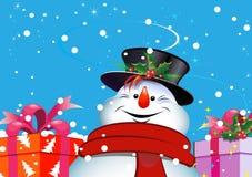 De achtergrond van Kerstmis. Sneeuwman. Stock Foto