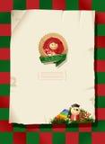 De achtergrond van Kerstmis - speelgoedetiketten en document Royalty-vrije Stock Foto