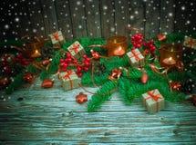 De achtergrond van Kerstmis of van het Nieuwjaar Stock Foto