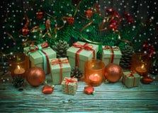 De achtergrond van Kerstmis of van het Nieuwjaar Royalty-vrije Stock Afbeeldingen