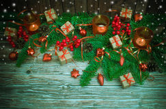 De achtergrond van Kerstmis of van het Nieuwjaar Stock Afbeelding