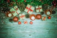 De achtergrond van Kerstmis of van het Nieuwjaar Stock Foto's