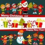 De achtergrond van Kerstmis van jonge geitjes Royalty-vrije Stock Afbeeldingen