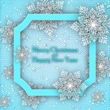 De achtergrond van Kerstmis Volumetrische sneeuwvlokken met schaduwen in het kader, met tekst vector illustratie