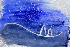 De achtergrond van Kerstmis Witte bomen en sneeuw op violette en zilveren achtergrond Royalty-vrije Stock Fotografie