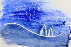 De achtergrond van Kerstmis Witte bomen op violette achtergrond Royalty-vrije Stock Fotografie