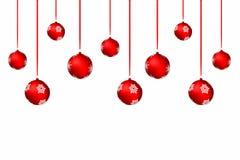 De achtergrond van Kerstmis Witte vakantieachtergrond met rode Kerstmisballen en linten vector illustratie