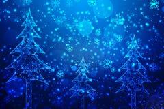 De achtergrond van de Kerstmisgroet met sneeuwvlokken, Kerstmis en Nieuwe jaarachtergrond royalty-vrije illustratie