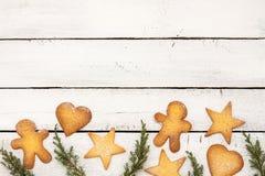 De achtergrond van Kerstmiskoekjes met vrije tekstruimte Royalty-vrije Stock Afbeelding
