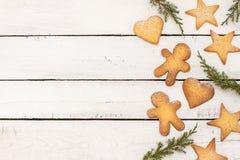 De achtergrond van Kerstmiskoekjes met vrije tekstruimte Stock Afbeelding