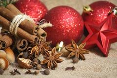 De achtergrond van Kerstmiskruiden Royalty-vrije Stock Afbeeldingen