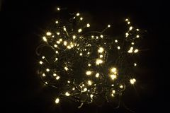 De achtergrond van de Kerstmisslinger LEIDENE Kerstmislichten I Stock Foto