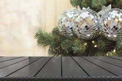 De achtergrond van de Kerstmisvakantie met leeg tafelblad royalty-vrije stock fotografie