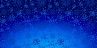 De achtergrond van de Kerstmisvakantie met sneeuwvlokken en sterren in blauw stock illustratie