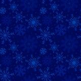 De achtergrond van de Kerstmisvakantie met sneeuwvlokken en sterren in blauw royalty-vrije illustratie