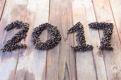 De achtergrond van koffiebonen 2017 Stock Afbeelding