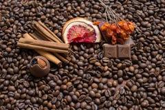 De achtergrond van koffiebonen met citrusvruchtenkaneel, en chocolade stock fotografie