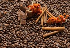 De achtergrond van koffiebonen met kaneel, en chocolade stock foto's