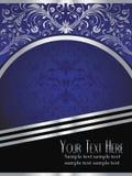 De Achtergrond van koningsblauwen met Overladen Zilveren Blad Stock Foto's