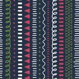 De achtergrond van de krabbel Modern abstract Naadloos vectorpatroon Etnisch en stammenstijl zwart roze als achtergrond, groen, w stock illustratie