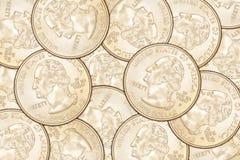 De achtergrond van kwartmuntstukken Royalty-vrije Stock Afbeelding