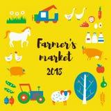 De achtergrond van de landbouwers` s markt met dieren, voedsel, tractoren, retro stijl Vector illustratie vector illustratie