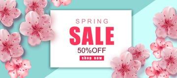 De achtergrond van de de lenteverkoop met roze kers komt realistische bloemen tot bloei stock illustratie