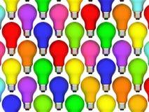 De achtergrond van Lightbulbs van regenboogkleuren Royalty-vrije Stock Afbeeldingen