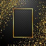 De achtergrond van luxevieringen met dalende stukken van metaalgoud schittert en confettien Royalty-vrije Stock Afbeeldingen