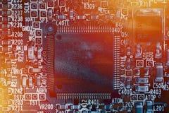 De achtergrond van de microchip - close-up van elektronische kringsraad Stock Fotografie