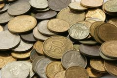De achtergrond van muntstukken Royalty-vrije Stock Afbeeldingen