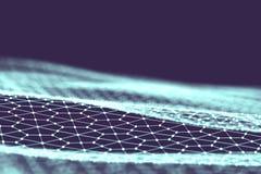 De achtergrond van de netwerktechnologie De futuristische blauwe achtergrond van technologie Lage poly 3d draad Ai kunstmatige in Stock Afbeeldingen