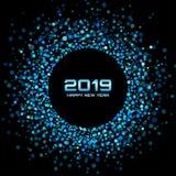 De Achtergrond van de nieuwjaar 2019 Kaart de Kerstman en rode bal De vakantiekader van de confettiencirkel Blauwe partij Vector  stock illustratie