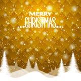 De achtergrond van nieuwjaar` s Kerstmis, in gele tonen Geometrisch ornament Stock Fotografie
