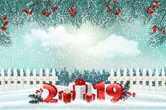 De achtergrond van de nieuwjaarvakantie met nummer 2019, giften en de winterlandschap royalty-vrije illustratie