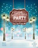 De achtergrond van de de Partijvlieger van de Kerstmisvakantie met de winterlan stock illustratie