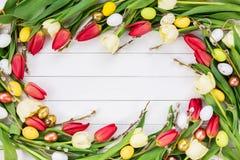 De achtergrond van Pasen De lentebloemen en eieren op witte achtergrond Royalty-vrije Stock Afbeeldingen