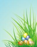 De achtergrond van Pasen met de eieren en het gras Royalty-vrije Stock Foto