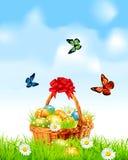 De achtergrond van Pasen met een mand volledige Paaseieren Royalty-vrije Stock Afbeelding