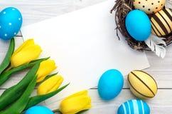 De achtergrond van Pasen met ei Stock Fotografie