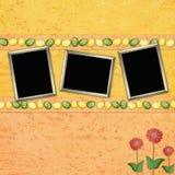 De achtergrond van Pasen met kleureneieren en frames Stock Afbeelding