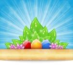 De achtergrond van Pasen met kleurrijke eieren, bladeren, bloemen Stock Afbeeldingen