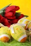 De achtergrond van Pasen met tulpen Royalty-vrije Stock Afbeelding