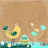 De achtergrond van Pasen met vogels en eieren. Royalty-vrije Stock Foto's